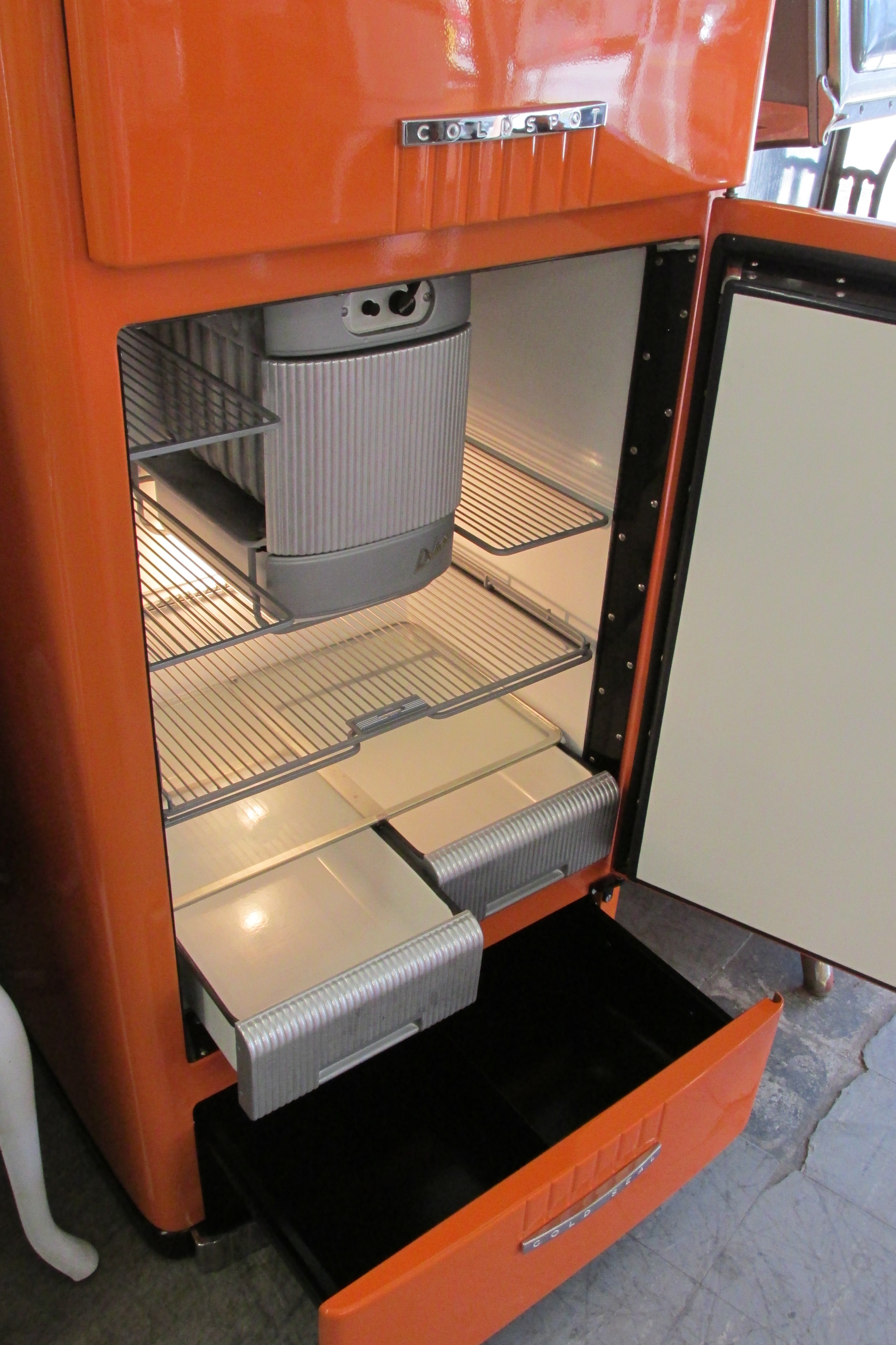 Antique vintage unfinished refrigerators -  This Vintage Treasure Went From White To A Beautiful Orange It Gets To Call Martha S
